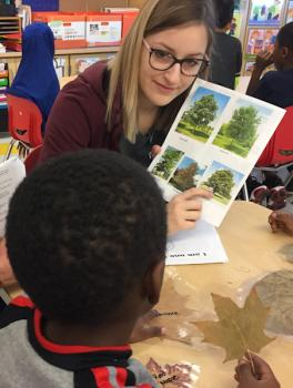 Photograph of WOW volunteer pointing to a tree while a kindergarten student compares his leaf to the tree photos